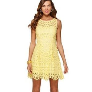 Lilly Pulitzer Foley Yellow Battenburg Lace Dress